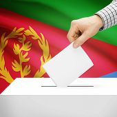 picture of eritrea  - Ballot box with national flag on background series  - JPG