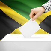 stock photo of jamaican flag  - Ballot box with national flag on background series  - JPG