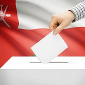 picture of oman  - Ballot box with national flag on background series  - JPG