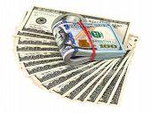 pic of one hundred dollar bill  - Pile of one hundred dollar bills isolated on white background - JPG