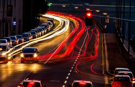 picture of noise pollution  - traffic in city at night - JPG