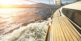 stock photo of yacht  - Sailing ships yachts in the open sea - JPG