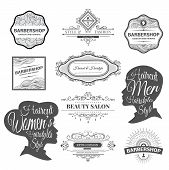 Постер, плакат: barber shop labels and logos