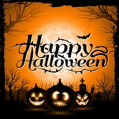 Vintage Happy Halloween Typographical Background With Pumpkins poster