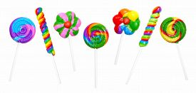 pic of lollipops  - Assortment of unique colorful lollipops isolated on a white background - JPG
