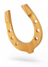 picture of horseshoe  - decorative horseshoe wooden horseshoe isolated on white background - JPG