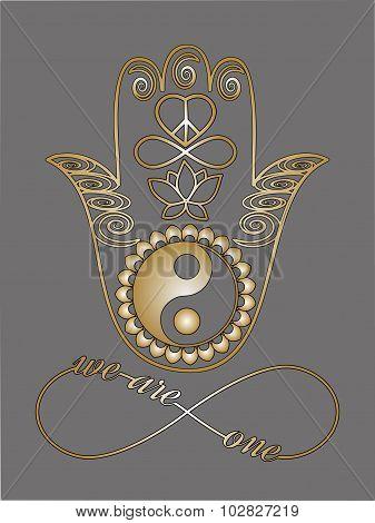 Buddha Hand And Ying Yang Symbols I Love You Note Love Card Mystic