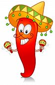 stock photo of maracas  - Illustration of a Chili Character Dressed in Traditional Mexican Costume Playing with a Pair of Maracas - JPG