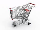 image of grocery cart  - photorealistic 3d shopping cart isolated on white background - JPG