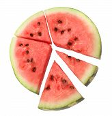 stock photo of watermelon slices  - Part of fresh red juicy watermelon cut on sections  - JPG