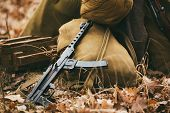 Soviet WW2 weapon of infantry. Submachine Gun PPS-43 poster