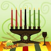 stock photo of unity candle  - red green and black candles in a kwanzaa kinara representing the 7 principles of unity self - JPG