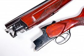 stock photo of shotgun  - Hunting shotgun on white background - JPG