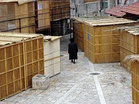 picture of israel people  - Sukkot in Meah Shearim neighborhood in Jerusalem Israel - JPG