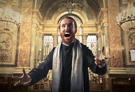 picture of priest  - Screaming priest - JPG