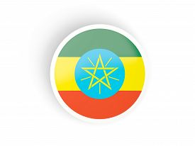 picture of ethiopia  - Round sticker with flag of ethiopia isolated on white - JPG
