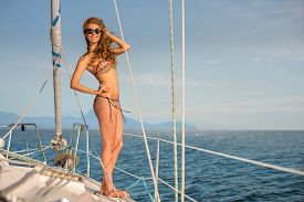 stock photo of yacht  - Girl resting on the yacht - JPG