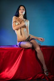 foto of nylons  - Beautiful sexy brunette girl in black nylon stockings - JPG