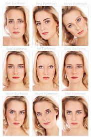 pic of transformation  - Nine portraits of young beautiful woman with various eyebrow styles on her face - JPG