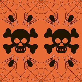 pic of skull crossbones  - Seamless Halloween pattern of skulls with evil grin and crossbones spiders in cobweb - JPG