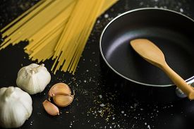 stock photo of raw materials  - Raw material and ingredient for Italian pasta recipe. ** Note: Shallow depth of field - JPG