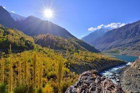 stock photo of karakoram  - Autumn at Ghizer Valley - JPG