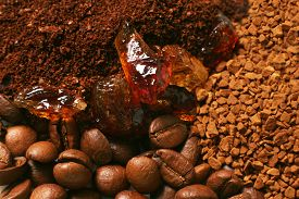 pic of coffee grounds  - Coffee ground coffee in granules coffee in a grain - JPG