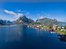 picture of reining  - Picturesque view of fishing town Reine on Lofoten islands Norway - JPG