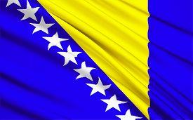stock photo of former yugoslavia  - Flag of Bosnia and Herzegovina - JPG