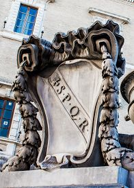 image of spqr  - the coat of arms of ancient Rome SPQR carved in marble in Rome Italy - JPG