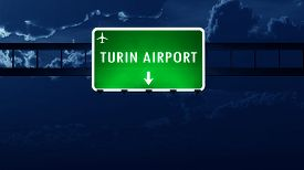 image of torino  - Torino Italy Airport Highway Road Sign at Night 3D Illustration - JPG