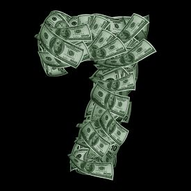 image of number 7  - Alphabet made from dollars USA isolated on a black background - JPG