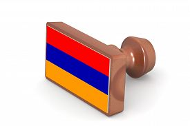 picture of armenia  - Blank wooden stamp with Armenia flag image with hi - JPG