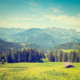 picture of farmhouse  - Farmhouse in the Bavarian Alps Germany Instagram Effect - JPG