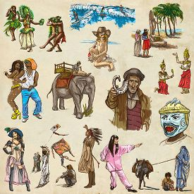 stock photo of freehand drawing  - UNITED COLORS OF HUMAN RACE People around the World  - JPG