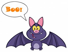 image of vampire bat  - Vampire Bat Cartoon Character Flying With Speech Bubble And Text - JPG