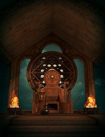 foto of celtic  - 3d computer graphics of a Fantasy scene in Celtic style with throne and burners - JPG