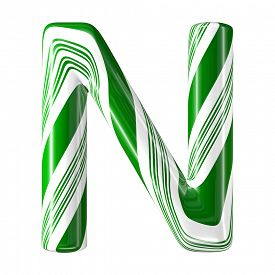 pic of desert christmas  - Mint hard candy cane 3d alphabet collection striped in Christmas colours - JPG