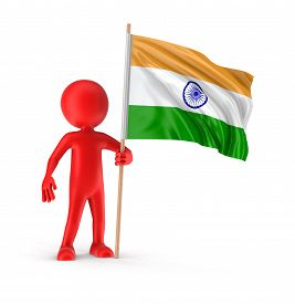 pic of indian flag  - Man and Indian flag - JPG
