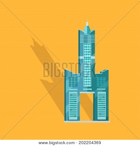 poster of Sky Tower skyscraper Tanteks in Taiwan isolated on yellow. Vector illustration of two separate buildings connecting to each other and holding towering central belfry, beneath which some empty space.