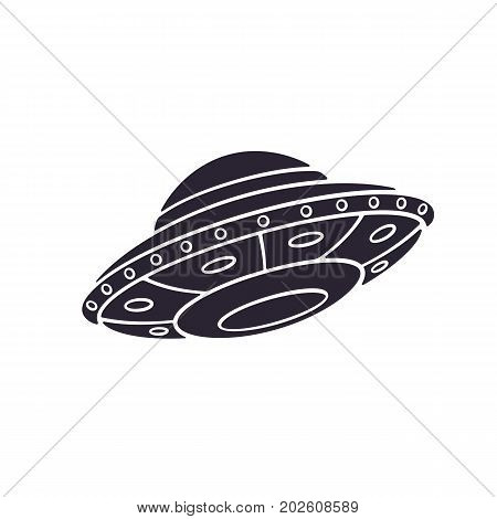 vector illustration silhouette of toy ufo space ship alien space