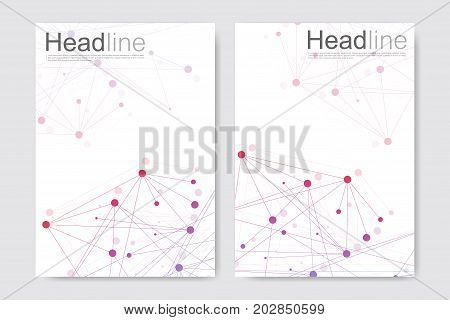 poster of Scientific brochure design template. Vector flyer layout, Molecular structure with connected lines and dots. Scientific pattern atom DNA with elements for magazine, leaflet, cover, poster design.