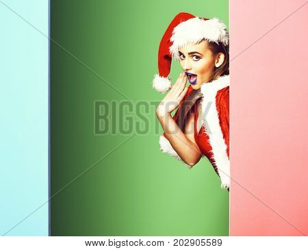 poster of Pretty Surprised Sexy Santa Girl