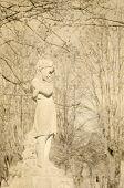 pic of cherubim  - monochrome retro image of cherub - JPG