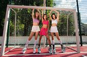 Sport Girls Posed Near Football Goal In Fitness Shoes. Fitness Kangoo Outside. Sexy Young Woman Do S poster