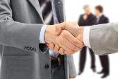 stock photo of business meetings  - handshake isolated on white background - JPG