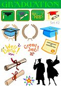 Vector graduation related illustrations set #2