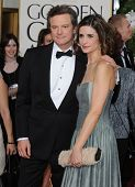 LOS ANGELES - JAN 16:  Colin Firth & Wife arrives to the 68th Annual Golden Globe Awards  on January