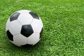 image of football pitch  - Soccer ball on ground - JPG