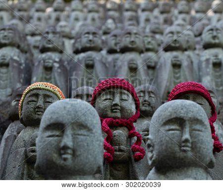 poster of Buddha Figures Of Hase-dera Temple In Kamakura, Japan